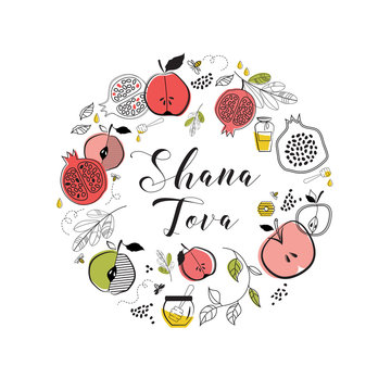 greeting card with symbols of Jewish holiday Rosh Hashana , New Year. blessing of Happy new year, shana tova. vector illustration template design