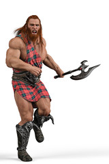 viking the highland warrior in a white background