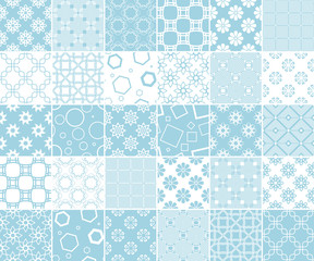 Geometric and floral collection of seamless patterns. Blue and white backgrounds