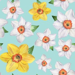 Daffodils - Seamless pattern. Watercolor illustration. Hand-drawing. Background.