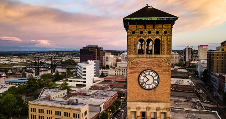 Aerial View City Clocktower in Downtown Tacoma Washington