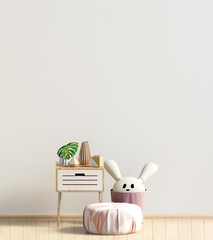 Modern interior with coffee table and puff. Wall mock up. 3d illustration.