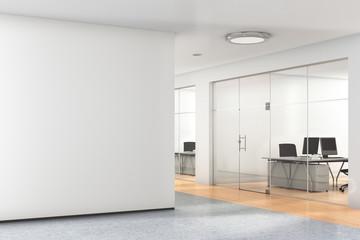 Blank wall in modern office.