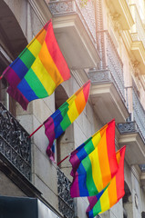 lgtb flags waving in the streets of Madrid