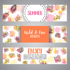Background card with flowers. Hand drawn floral elements. Enjoy summer text Vector template banners for poster, invitation, flyer, party, wedding, brochure