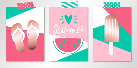 Set of three colorful summer cards with sandals, watermelon and ice cream on patchwork backgrounds. Vector templates with rose gold elements. All isolated and layered
