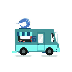 Sea food concept.Blue truck decorated with huge shrimp selling seat food isolated on white background.