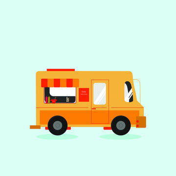 Thai food concept. Orange truck selling spicy thai food isolated on blue background.