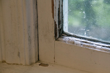 Old, Moldy Wood Window and Frame With Peeling Paint