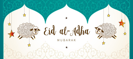 Muslim holiday Eid al-Adha card. Happy sacrifice celebration.