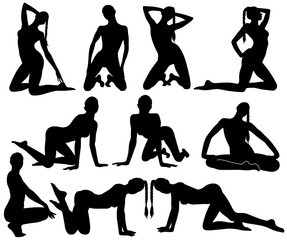 Silhouettes of slim sexy dancing woman.
