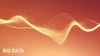 Vector abstract data particle wave, points array, shallow depth of field. Futuristic illustration. Big Data digital technology splash of data points. Point dance waveform. Cyber UI, HUD element. Fotoväggar