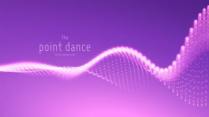 Vector abstract violet particle wave, points array, shallow depth of field. Futuristic illustration. Technology digital splash or explosion of data points. Point dance waveform. Cyber UI, HUD element. Fotoväggar
