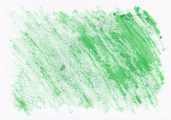 Green dry horizontal  watercolor  hand drawn  background. Beautiful diagonal hard strokes of the paint brush
