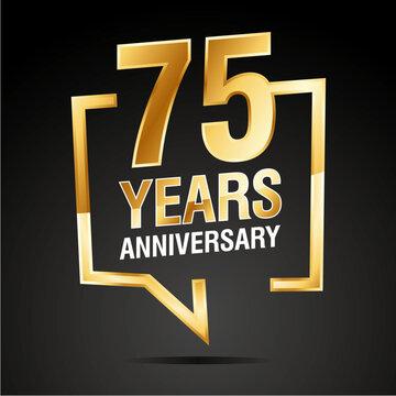 75 Years Anniversary gold white black logo icon