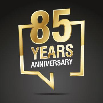 85 Years Anniversary gold white black logo icon