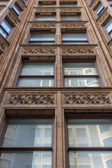 Vintage architecture with closed windows