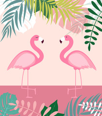 Abstract Summer Background with Palm Leaves and Flamingo. Vector Illustration