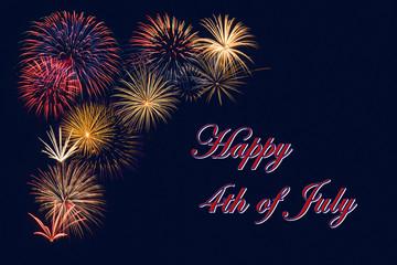 Festive fireworks display for a Happy 4th of July celebration. Dark blue night sky background.