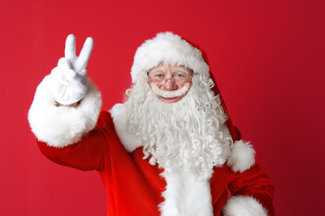 Portrait of authentic Santa Claus on color background