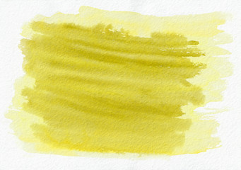 Yellow gold horizontal  watercolor  hand drawn  background. Beautiful hard strokes of the paint brush