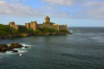 Brittany in France and Latte fort, a very well known tourist destination with a beautiful castle