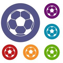 Football or soccer ball icons set in flat circle red, blue and green color for web