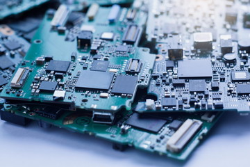 Electronic Waste,Semiconductor in Printed Circuit Board, technology background.