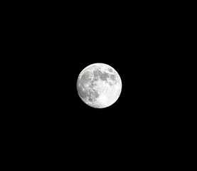 A detailed photograph of the moon and its craters against a plain black sky