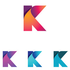 K Letter Folded Abstract Business Logo Symbol