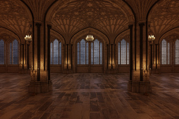 Palace ballroom with candles lighting the room and large arch windows, 3d render. Fototapete