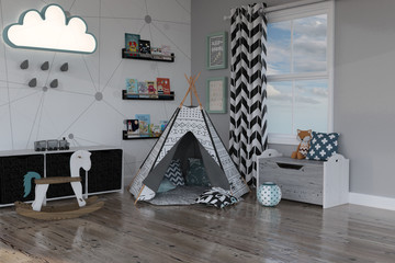 Kids Tepee room set up with toys and books, 3d render.