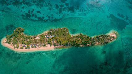 aerial view of the chapwani island in Zanzibar