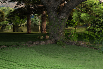 Lush green grass under a large tree, Landscape image, 3d render.