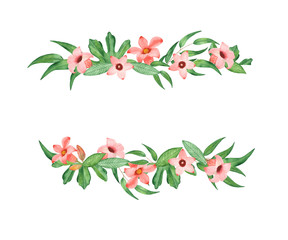 Watercolor banner with leaves of eucalyptus and pink flowers. Illustration for design wedding invitations, greeting cards, postcards.