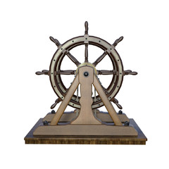 Vintage Ships Wheel isolated on white, 3d render.
