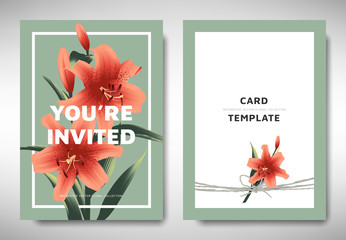 Greeting/invitation card template design, orange lily flowers with leaves on green background, organic/nature theme