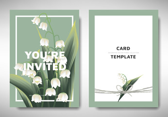 Greeting/invitation card template design, lily of the valley flowers with leaves on green background, organic/nature theme