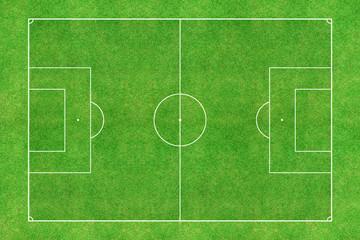 Green soccer stadium field top view