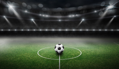 stadium 3d rendering, Have a soccer ball in the middle.