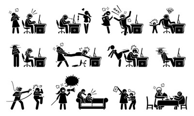 Gaming disorder and gaming addiction. Stick figure icons depict game addict playing computer and smartphone games. They are having a lot of social problem with people around them.