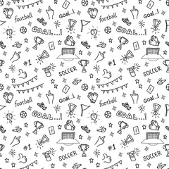 Sport  seamless pattern soccer doodles on a white background