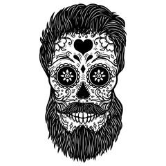 Bearded sugar skull. Design element for poster, card, print, emblem, sign.
