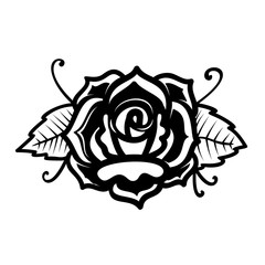 Rose illustration in tattoo style. Design element for poster, card, print, emblem, sign.