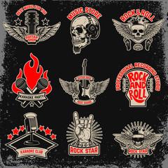 Set of music party, rock emblems. Design element for logo, label, emblem, sign.