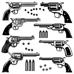 Set of revolver illustrations. Design element for logo, label, emblem, sign.