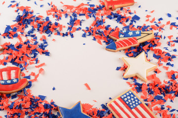 Patriotic confetti of 4th of July.