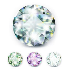 large colored jewelery diamonds with rhinestones and bright shine