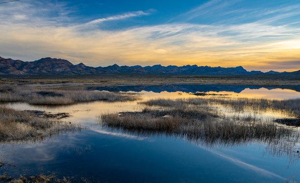 Pahranagat National Wildlife Refuge Blue Yellow Contrast Sunset Reflection
