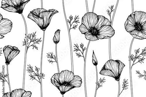 seamless california poppy flower pattern background stock photo